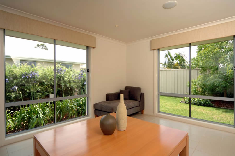 Large aluminium windows which let in lots of light